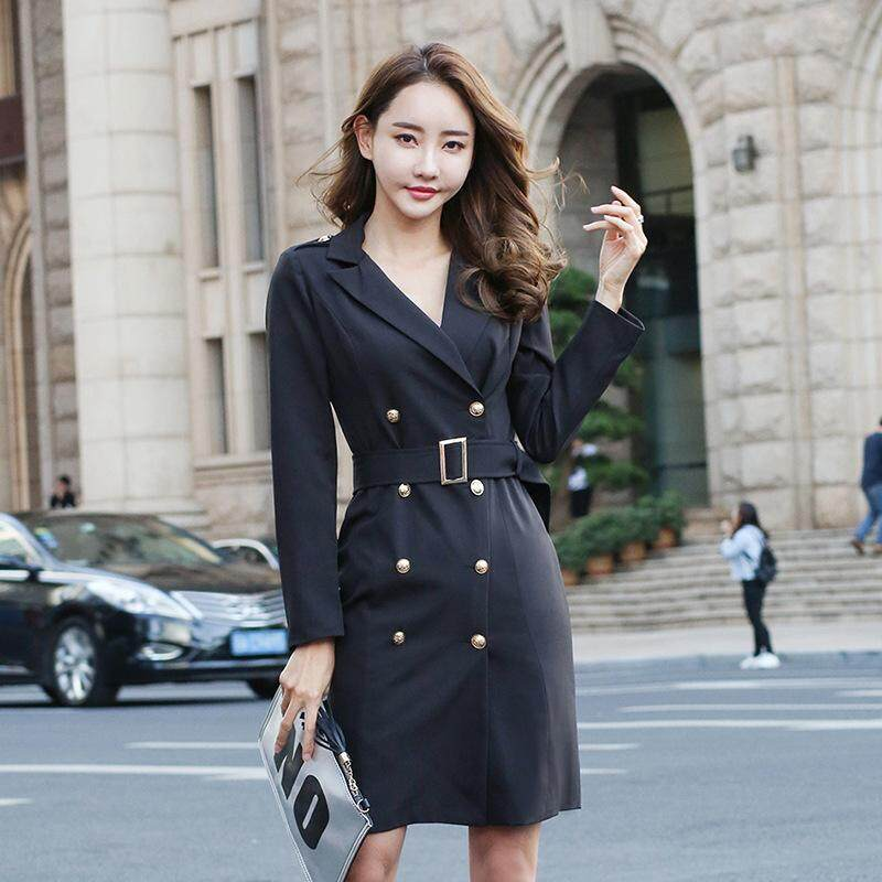 7866b91cf6e7a Women Formal Skirt Suits Spring Autumn Fashion Double-breasted Suit Office  Lady Coat Blazers One Piece Set