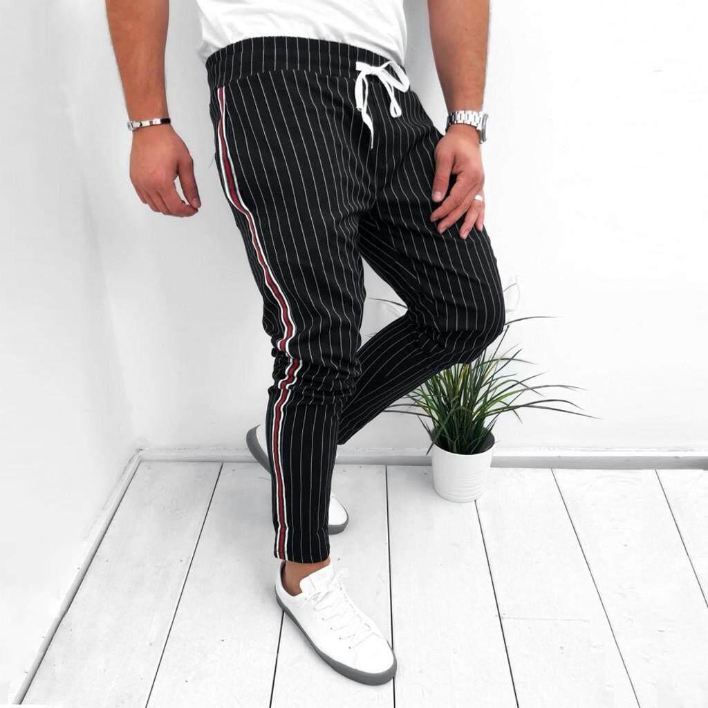 30f0624dda Echomenshop Mens Joggers Striped Patchwork Casual Drawstring Sweatpants  Trouser Long Pants