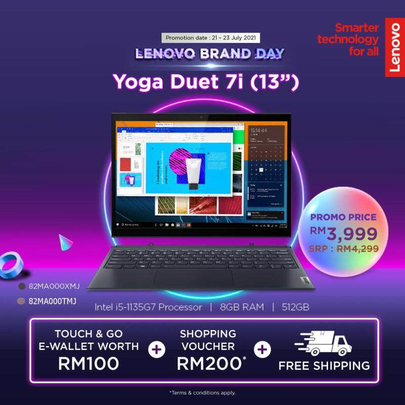 LENOVO YOGA DUET 7 13 | Intel Core I5-1135G7| 8GB DDR4 | 512GB SSD | Intel Iris Xe Graphics | W10H| 2YR WRTY | Orchid / Slate Grey| | 82MA000TMJ / 82MA000XMJ Malaysia