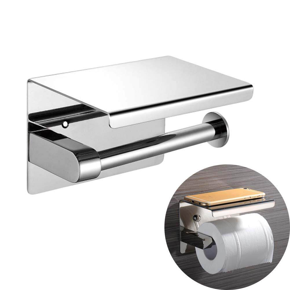 0b7d4a8c71a76f 304 Stainless Steel Wall Mount Toilet Paper Bathroom Tissue Holder With  Shelf Rack
