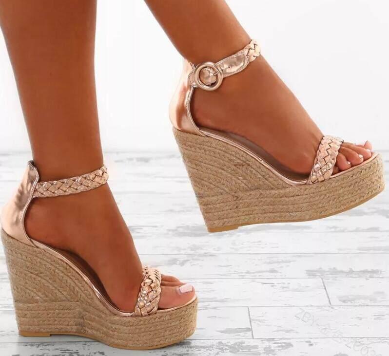 f257ff569c21 woman chaussure zapatos mujer ladies hemp loop shoes women sexy wedge  sandals pumps platform high heels