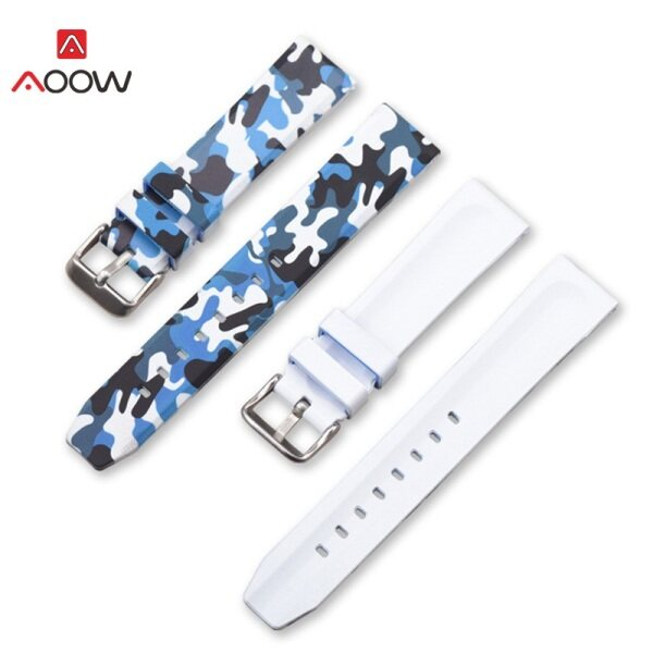 Practical and versatile AOOW Silicone Watchband Sports Camo Printed Rubber Waterproof Replacement Bracelet Band Strap Watch Accessories 20mm 22mm 24mm Malaysia