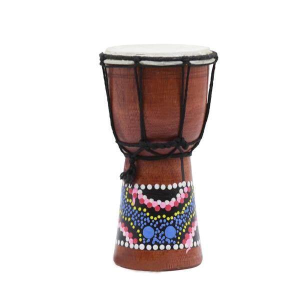 Trống Gỗ Châu Phi kích thước nhỏ gọn 4 inch DJEMBE BONGO tay trống nhạc cụ gõ với hoa văn đầy màu sắc (giao hàng ngẫu nhiên)