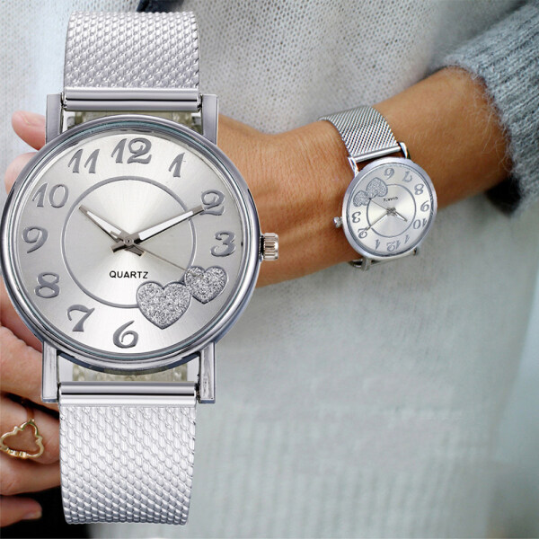 Fashion Luxury Simple Silver Heart Pattern Stainless Steel Mesh Belt Quartz Wristwatches Women Watches Female Clock Wrist Watches Malaysia
