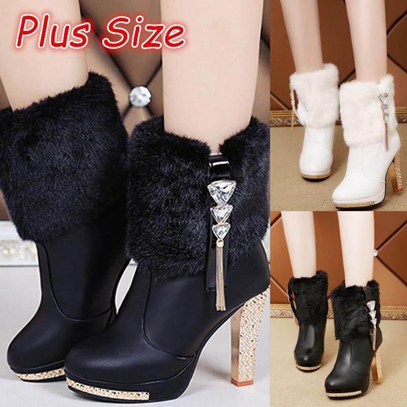 Plus Kích Thước WomWomens Thu Giữ Ấm Mùa Đông Ngắn Giày Cao Gót Boot Bottes (Đen/Trắng)