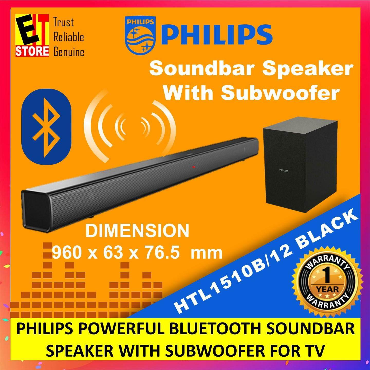 PHILIPS POWERFUL BLUETOOTH SOUNDBAR SPEAKER WITH SUBWOOFER FOR TV (HTL1510B/12) Malaysia
