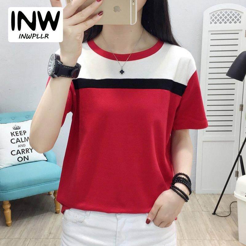 4377cb2833a INWPLLR Women s Fashion T-Shirts Casual Korean-style Tops Tees Summer Short  Sleeve Tshirt