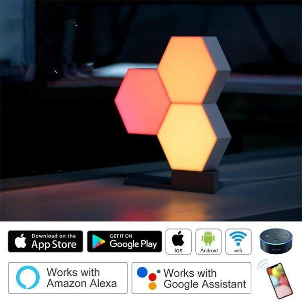 Hossen 10PCS LED DIY Assembly APP Control Night Light Wall Lamp for Home Decor Style:Infinite color