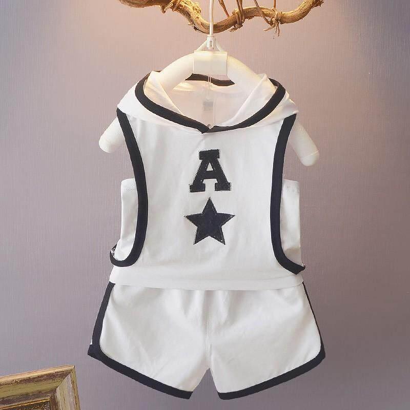 a76141de191e3 Fashion Baby Boys Print Hooded Vest Top Elastic Band Shorts 2Pcs/Set  movement set