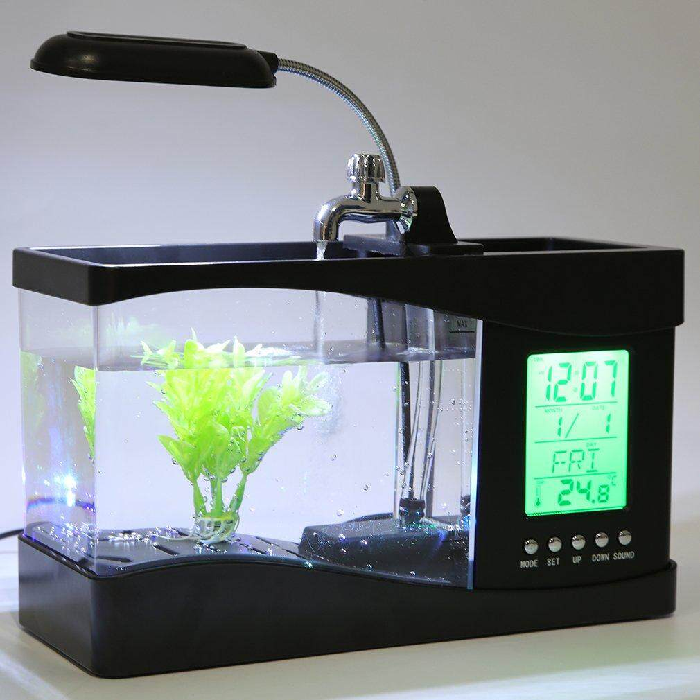 Osman Usb Desktop Mini Fish Tank Aquarium Lcd Timer Clock Led Lamp Light Black By Osmanthus.