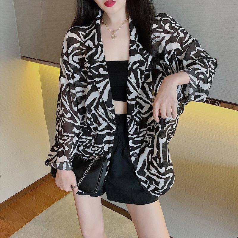 Áo Khoác Vest Họa Tiết Ngựa Vằn Áo Blazer Nữ Bộ Đồ Mùa Hè Mỏng Dáng Rộng Hàn Quốc Chiều Dài Trung Bình Bằng Voan Nhỏ, Kem Chống Nắng Hàng Đầu