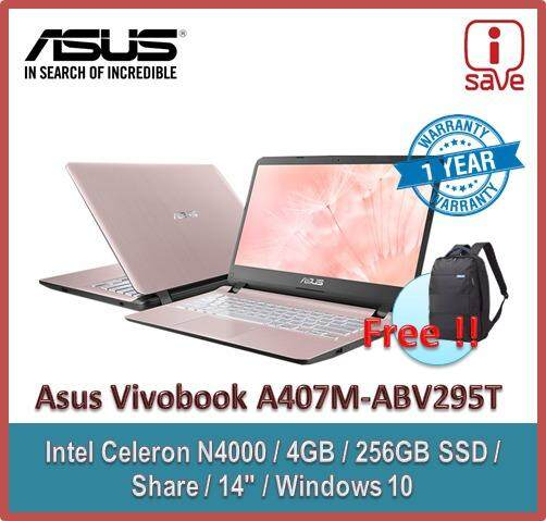 Asus Laptop Vivobook A407M-ABV295T 14  Rose Gold (Celeron N4000, 4GB, 256GB SSD, Intel, W10) + Asus Back Pack Malaysia