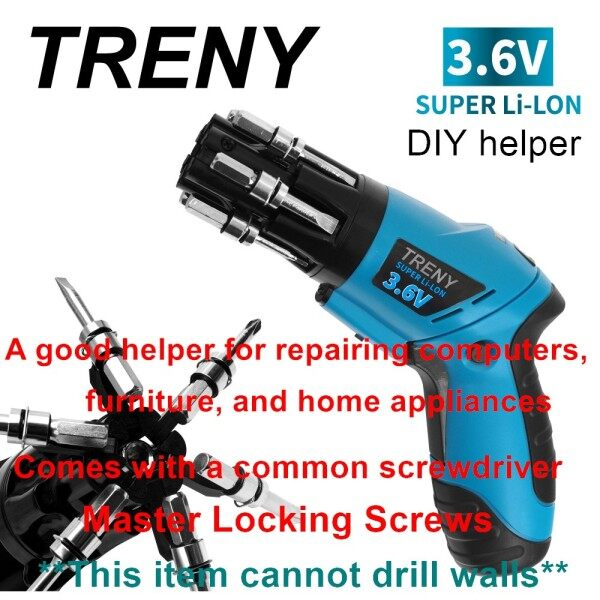 TRENY 3.6v Small Cordless Electric Screwdrivers rechargeable powertools kit screw Cordless Drill handheld shaft