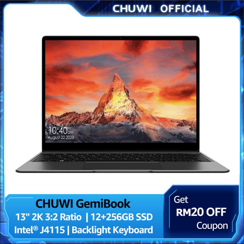 CHUWI Official GemiBook Windows 10 Laptop | 13 2K IPS Screen LPDDR4X 12GB 256GB SSD | Intel Celeron J4115 Quad Core 2.5Ghz | Dula Brand Wifi BT 5.1 Lightweight NoteBook 1 Year Warranty Malaysia