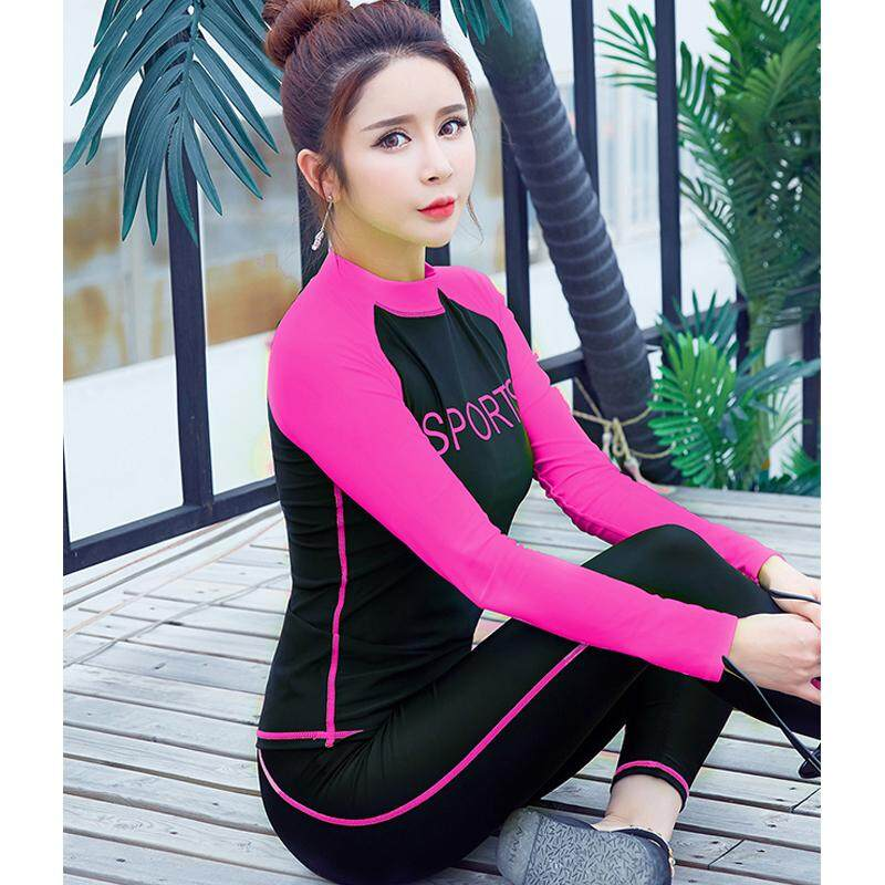 d33f9afb9ba8d Women Diving Snorkeling Suit Padded Sun UV Protection Jellyfish Long Sleeve  Rash Guards Wetsuit Girls Surfing