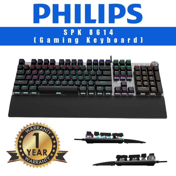 Philips G614 (SPK8614)- Philips USB Wired Mechanical Gaming Keyboard with Rainbow Backlit | Wrist Rest Pad | for PC Laptop Desktop Computers (Blue Switch, Red Switch & Brown Switch) Malaysia