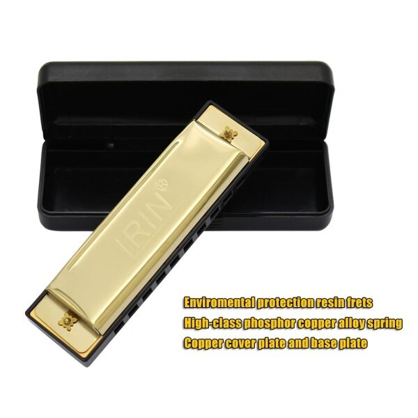 【Hot】10 Holes 20 Tone Diatonic Blues Harmonica Key of C with Case for Beginner Children Silver Malaysia