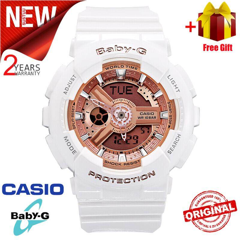 Original Baby G BA110 Women Sport Watch Dual Time Display 100M Water Resistant Shockproof and Waterproof World Time LED Light Girl Sports Wrist Watches with 2 Year Warranty BA-110-7A1 White Rose Gold (Ready Stock) Malaysia