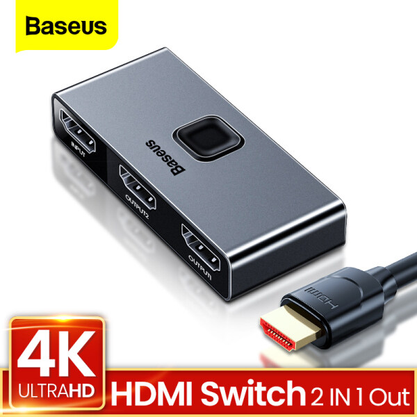 Baseus 4K HDMI Splitter Bi-Direction 2.0 HDMI Switch 1x2 & 2x1 Adapter 2 in 1 out Converter HDMI Switcher For PS5 PS4 HD TV BOX