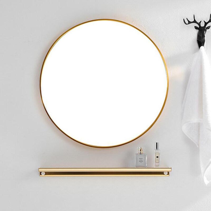 Bắc Âu Phong Cách Thời Trang Tối Giản Khách Sạn Phòng Tắm Gương Khung Kim Loại Gương Gương Tròn Treo Tường Gương Gương Trang Trí Gương Trang Điểm Gương Sáng Tạo Vàng Được Mạ Nhôm Khung Gương 40 Cm