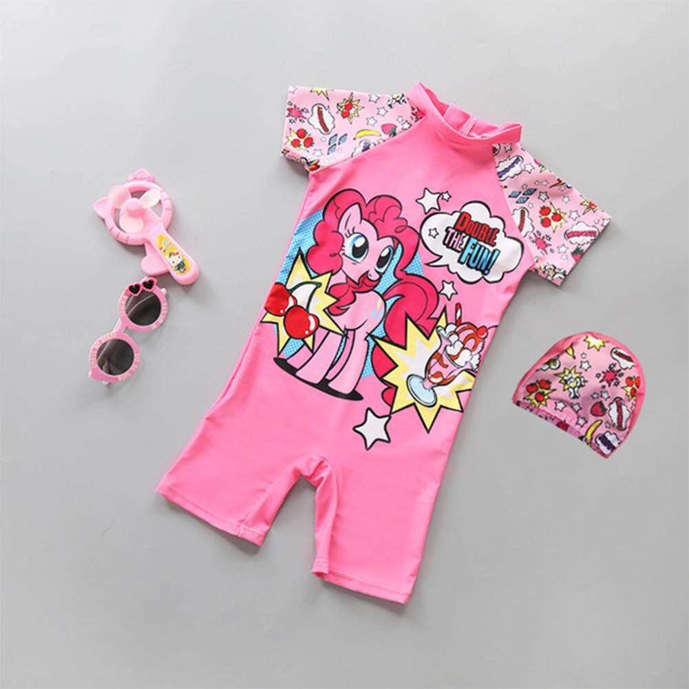 ddc3602b44 Kidlove Baby Kids Girl Cartoon Lovely Pink Horse Swimming Suit with Hat