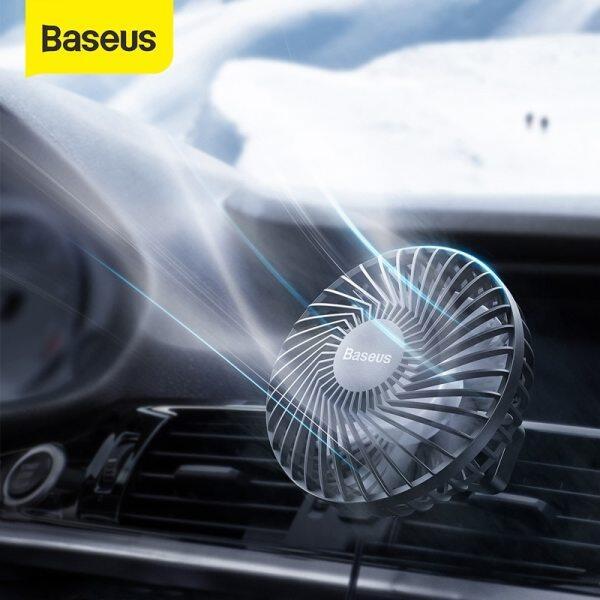 Baseus Car Fan Cooler 360 Degree Rotating Silent Car Air Vent / Backseat Mini USB Fan Cooling- 3 Speed Adjustable