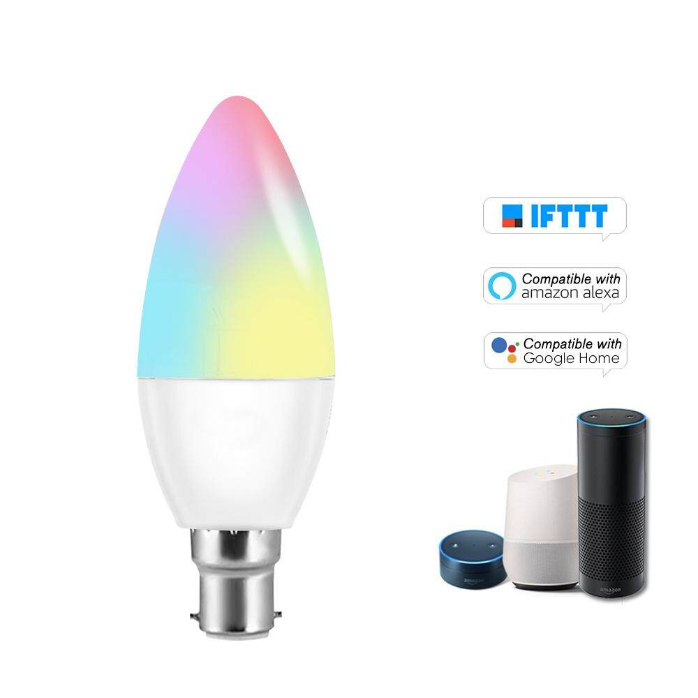 V16-C Smart WIFI LE-D Bulb RGB+W LE-D Candle Bulb 6W B22 Dimmable Light Phone Remote Control Group Control Compatible with Alexa Goog-le Home Tmall Genie Voice Control Light Bulb