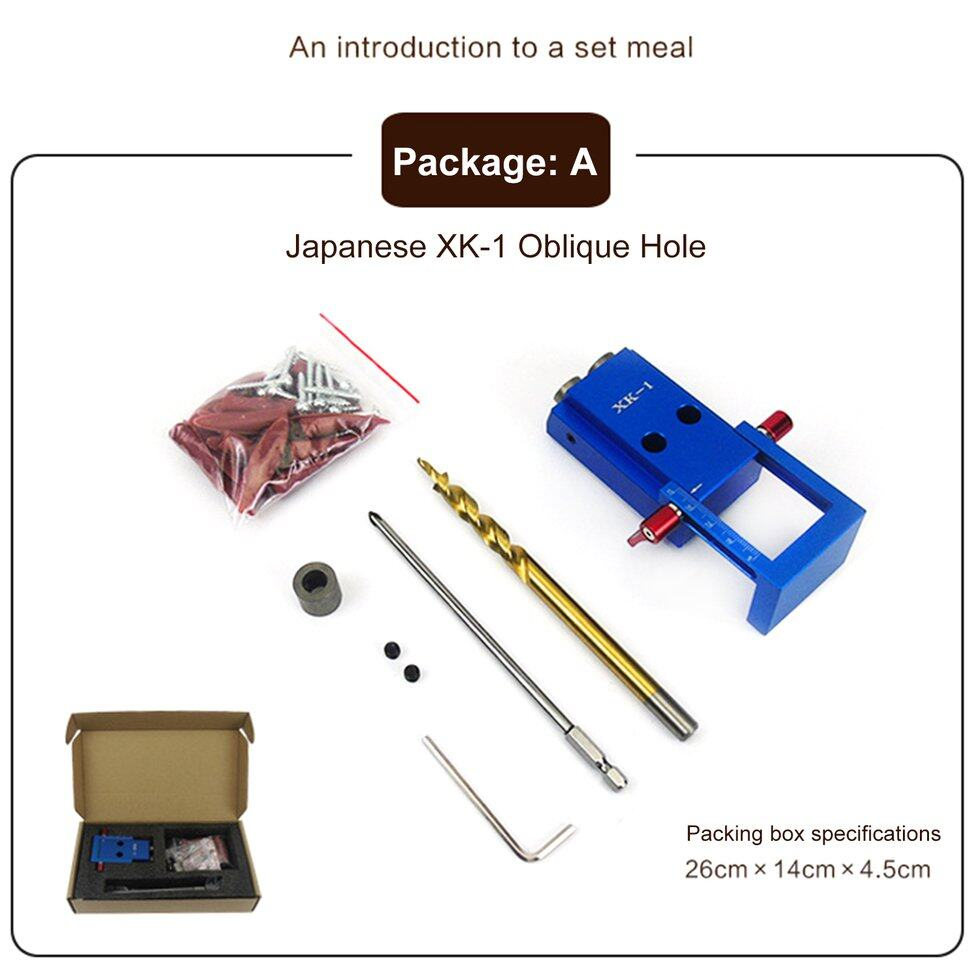 GOFT XK-1 Mini Pocket Hole Jig Kit Oblique Hole Locator for Wood Working & Joinery and Step Drill Bit & Set Wood Work Tool