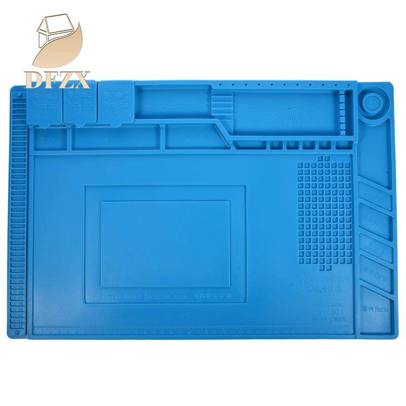 DFZX Trade S-160 45x30cm Heat Insulation Silicone Pad Desk Mat Maintenance Platform for BGA Soldering Repair Station with Magnetic Section(Blue)