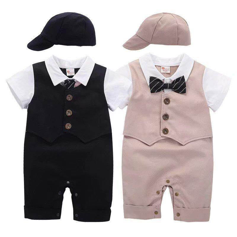 492e86dc6f096 2019 Fashion Baby Boys Clothes 0-2Years Baby Rompers Tuxedo Jumpsuit+Hat  Vest Baby Clothing Set Costume Birthday Party Dress Black
