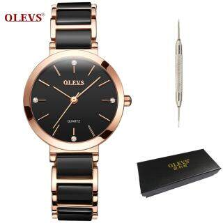 Đồng hồ nữ kiểu cổ điển làm từ gốm Pháp đính kim cương lấp lánh sang trọng OLEVS thumbnail