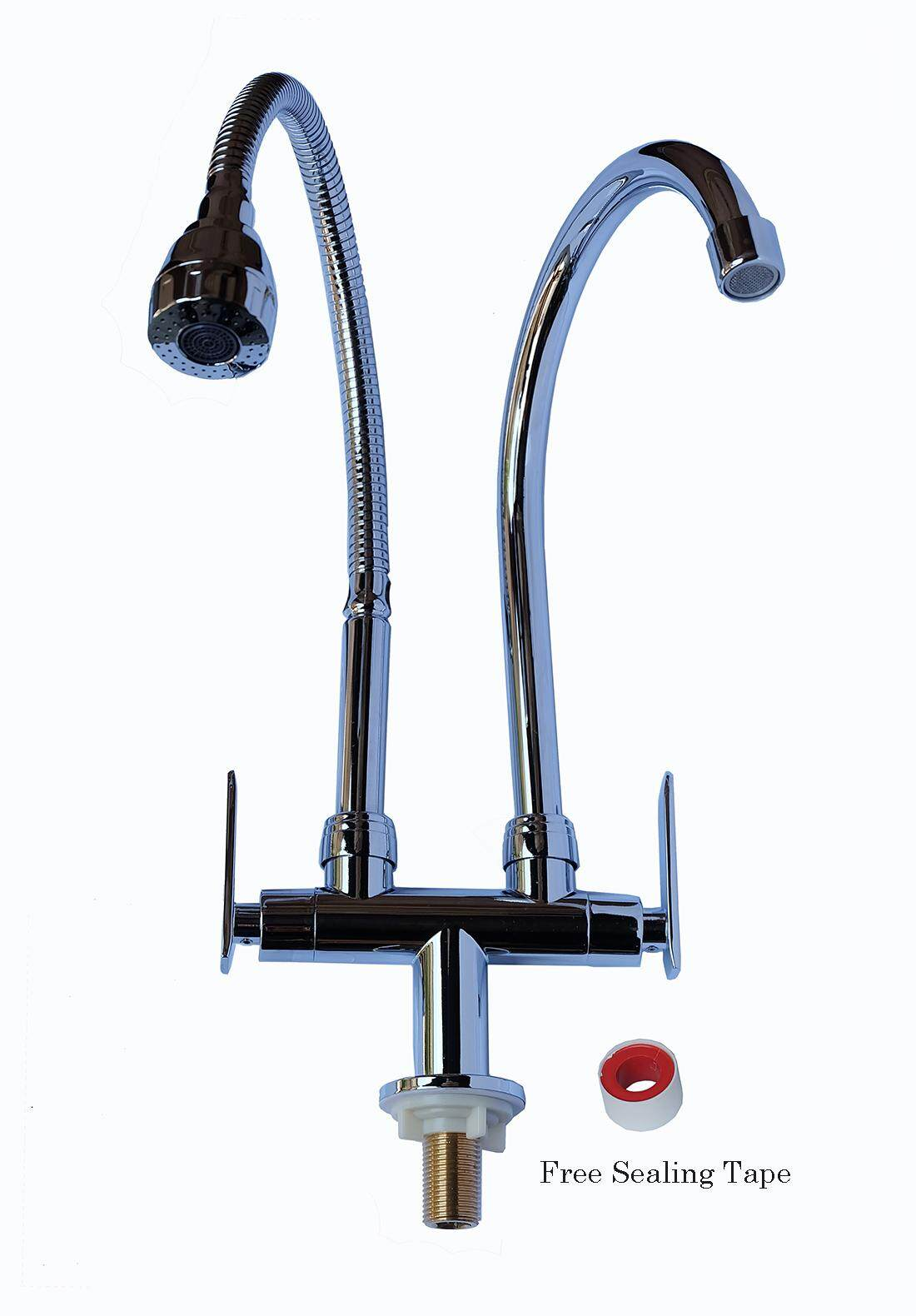 Luccano Lu8901 Double Faucet with Flexible Shaft and Water Tap for Kitchen Basin
