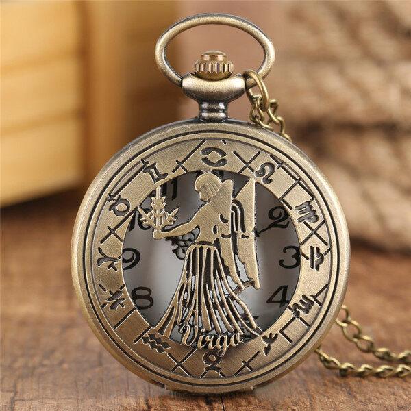 AIKEN Bronze 12 Constellation Unisex Quartz Analog Pocket Watch Birthday Gift Necklace Chain Malaysia