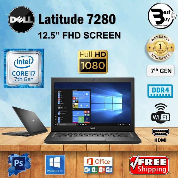 DELL LATITUDE 7280 CORE i7-7600U (7th GEN) 12.5 FHD / UPTO 16GB DDR4 / 1TB M.2 SSD / HDMI / 12.5 FULL HD SCREEN / REFURBISHED LAPTOP Malaysia