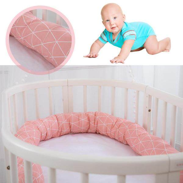 C-S Baby bed safety crash barrier, childrens room printed bed surrounded by comfortable organic cotton strip pillow