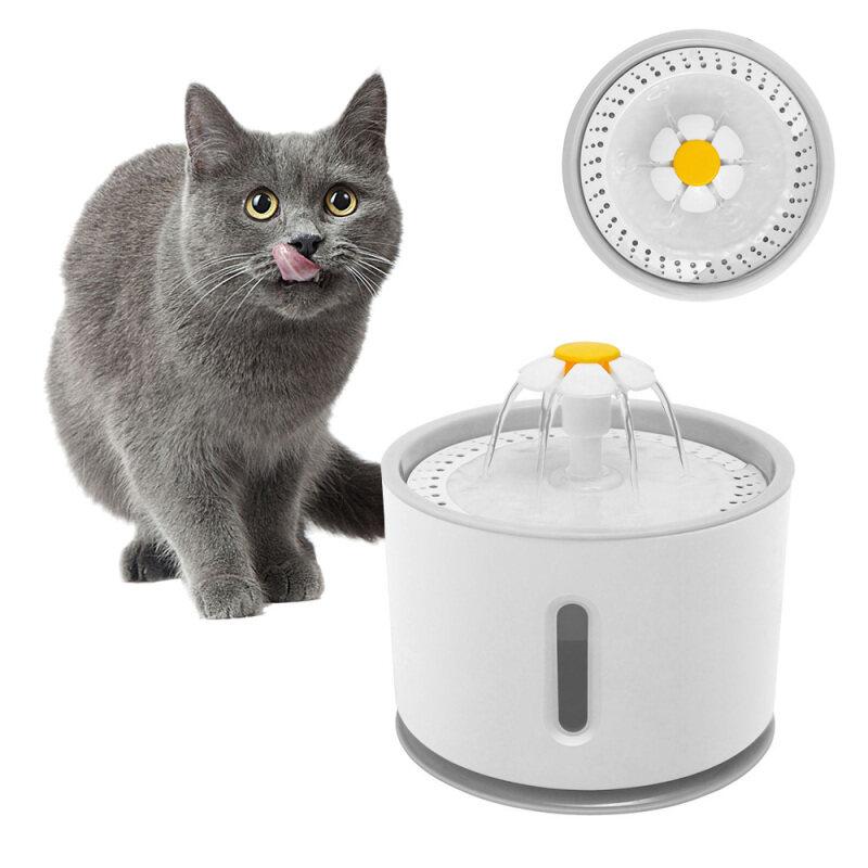 Đài Phun Nước Cho Mèo Uống Tự Động Thú Cưng Uống Nước Bát Định Lượng Màu Xám