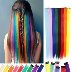 Tóc nối màu cầu vồng cho bé gái 50cm Tóc Kẹp sợi tổng hợp nhuộm Ombre tóc kẹp tóc dài thẳng
