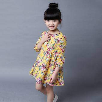 เจ้าหญิงชุดเดรสเด็กผู้หญิงแขนยาวเด็กดอกไม้กระโปรงบัลเล่ต์พิมพ์ชุดเดรสเด็ก
