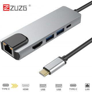 ZUZG Cổng Sạc USB C Sang Rj45 HDMI USB 3.0 Loại C, Hub 5 Trong 1 Gigabit Ethernet Lan 4K Dành Cho Mac Book Pro Bộ Sạc USB-C Thunderbolt 3 thumbnail