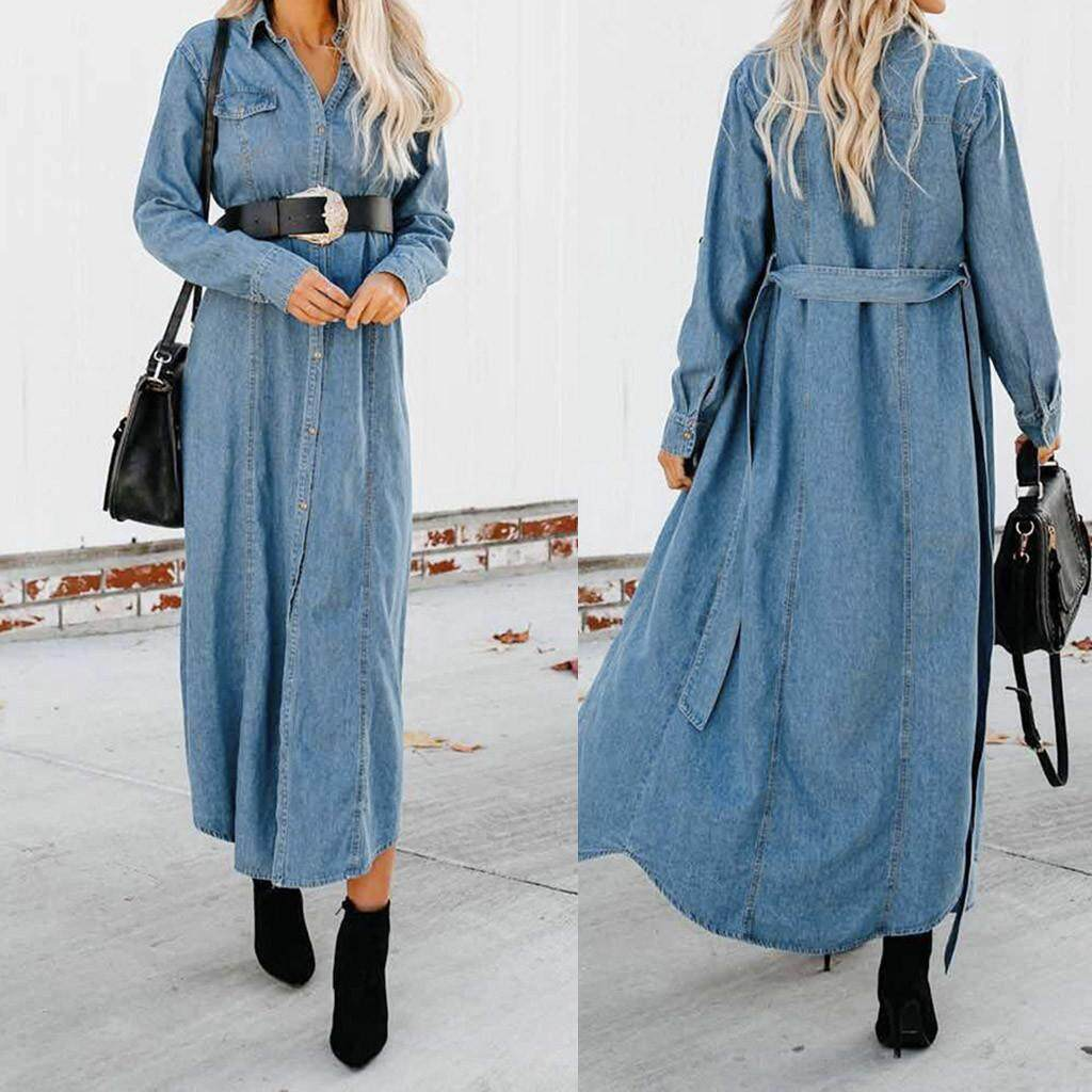 cc309ab8a6 Yhystore Womens Button Down Denim Ladies Belt Jeans Long Tops Shirt Maxi  Dress