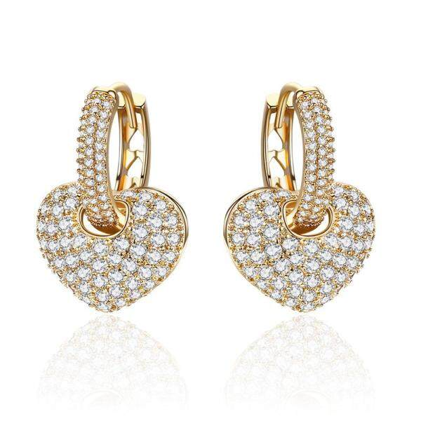 Bông tai nữ mạ vàng 18K Heart Drop Earrings Jewelry for Women