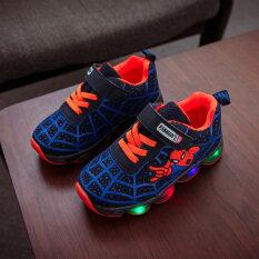 New Kids Spiderman Giày Tia Chớp Bóng Đêm Giày Ánh Sáng LED Thể Thao Cho Trẻ Em Sneaker Trai Bé Gái Mới Biết Đi Mùa Thu Mùa Xuân
