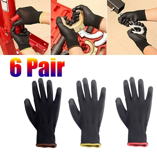 Nylon 6 Pairs Grip Coated Palm Coating Workplace Work Glove Safety Gloves Garden Supplies Protection