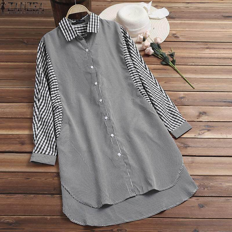 a7986eee51a ZANZEA Women Casual Retro Plaid Check Top Tee Blouse Loose Plus Size Button  Up Shirt Philippines