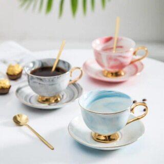 Lidiliya Bộ Đĩa Cốc Cà Phê Gốm Hoa Văn Cẩm Thạch, Cốc Sứ Ăn Sáng Sữa Trà Mạ Vàng Quà Sinh Nhật Một Cốc + Bộ Một Đĩa thumbnail