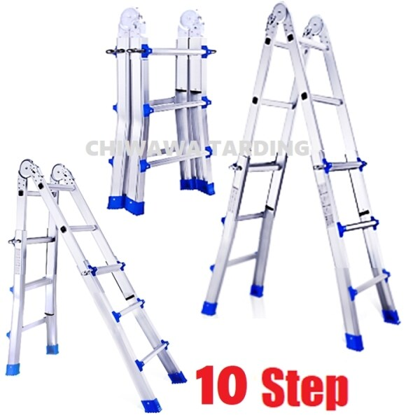 10 Steps Heavy Duty Aluminium Foldable Double Section Extension Telescopic Ladder / Tangga LD7