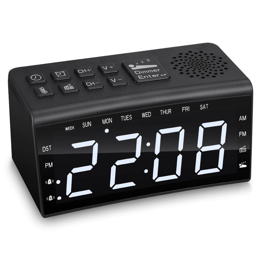 Ra002 ดิจิตอล Fm/am นาฬิกาวิทยุนาฬิกาปลุกคู่อุณหภูมิเลื่อนปลุกวัน Dimmable Backlit 6.5 จอ Led นิ้ว By Xinmaijia