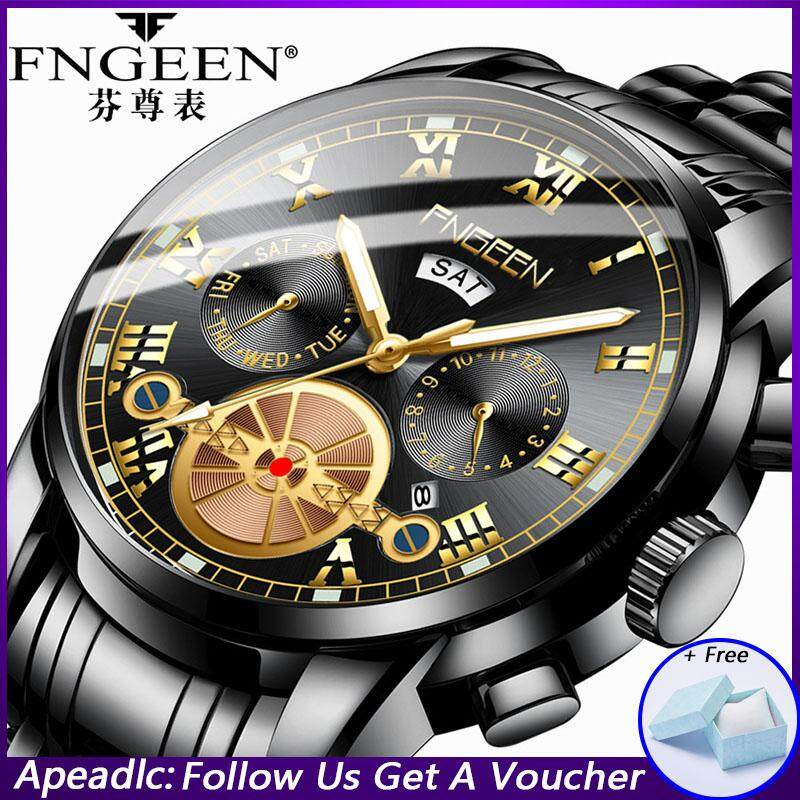 [With Box]Apeadlc FNGEEN New Top Brand Luxury Men Watches Fashion Trend Calendar Male Wristwatch Waterproof Luminous Stainless Steel Quartz Watch 2019 Malaysia
