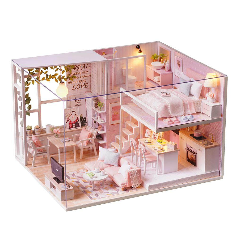 Diy miniature loft dollhouse kit realistic mini 3d pink wooden house room toy with lights dust
