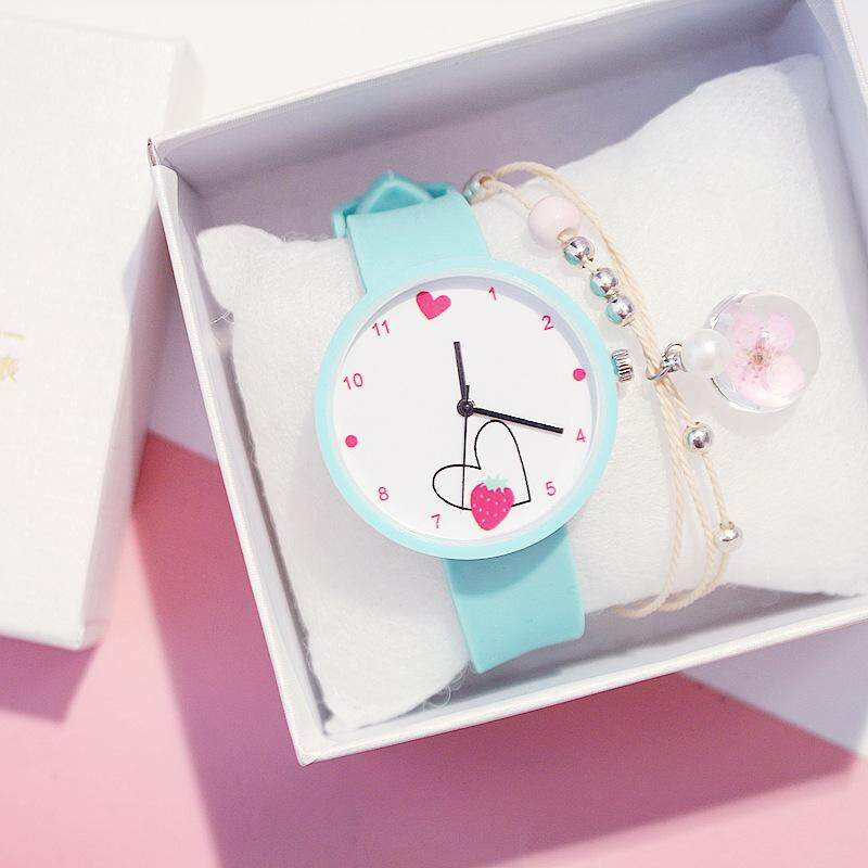 [CNY 2020] Kegllect Cute Kids Watches Strawberry Silicone Strap Quartz Watch With Bracelet Lovely Girls Casual Waterproof Fashion Wristwatches Student  Clock Gift Free Box Malaysia
